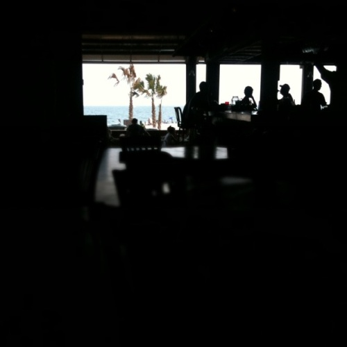 Beach view from The Hangout restaurant in Gulf Shores, AL