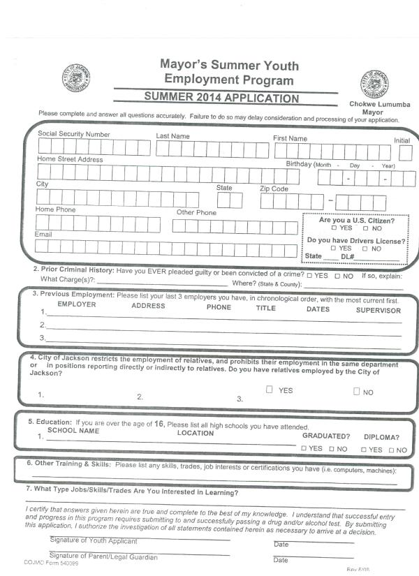 mayor youth application